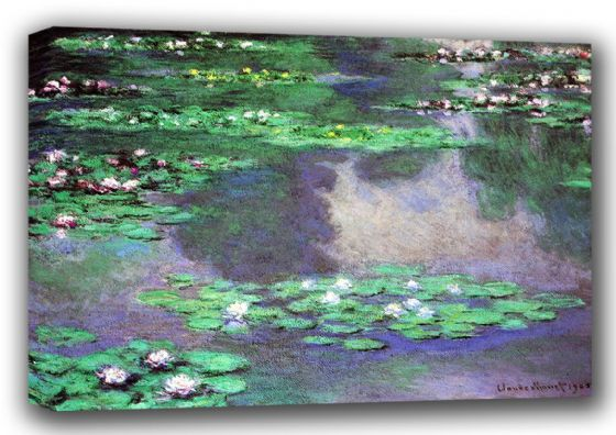 Monet, Claude:  Sea Roses, Water Landscape. Fine Art Landscape Canvas. Sizes: A3/A2/A1 (00781)